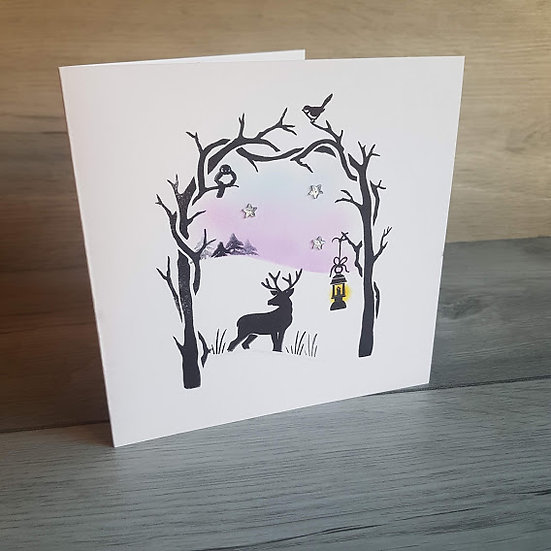 Hand Stamped Card - Christmas Stag