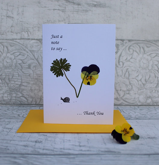 Pressed Flower Card - Thank You