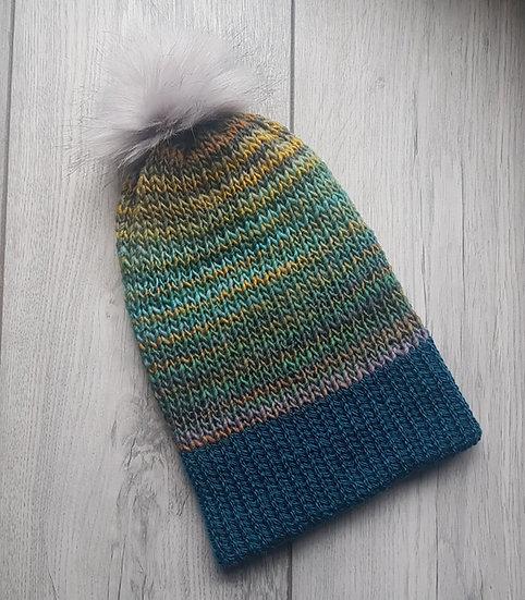 Handmade Knit Hat - Teal Twist