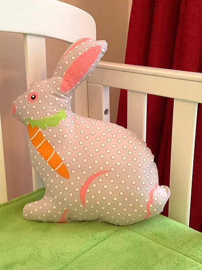 Bunny Cushion - Pale grey with carrot
