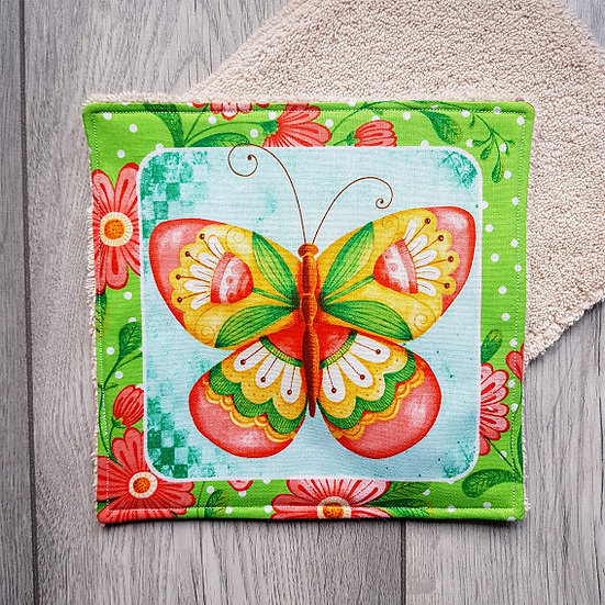 Face Towel - Red Butterfly