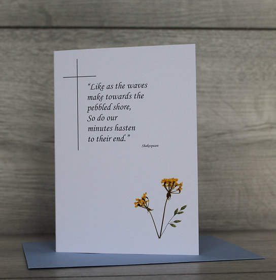 Sympathy Card with words from Shakespeare - Queen Ann's Lace