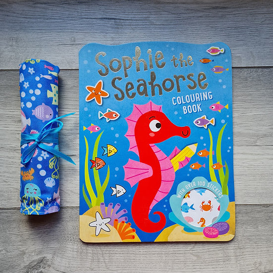 Pencil Roll - Seahorses - colouring book and pencils included