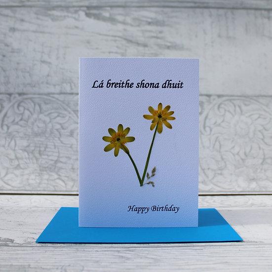 Pressed Flower Card - Lá breithe shona dhuit