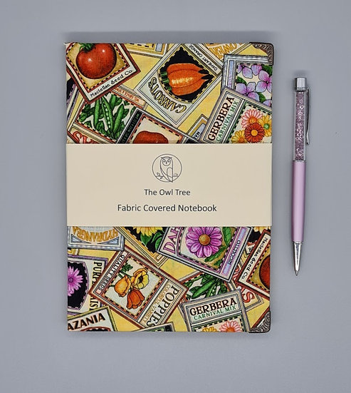 Gardening fabric covered notebook