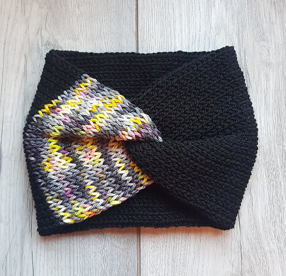 Handmade Knit Headband - Neon Glitch