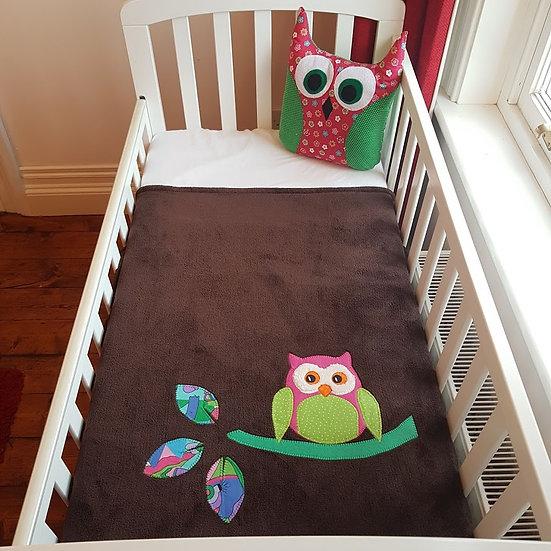 Fleece Blanket - Pink Owl on Brown
