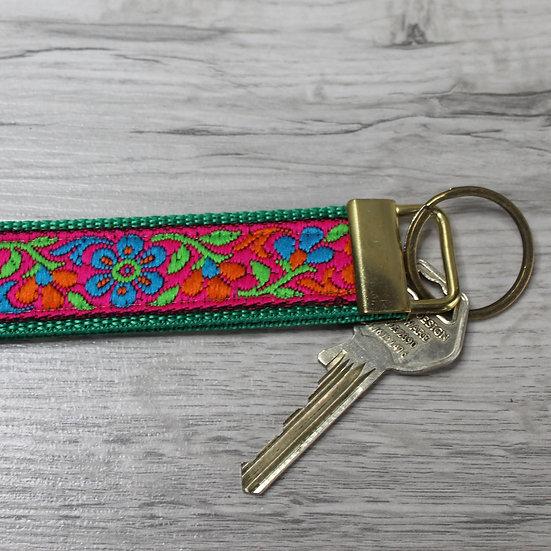 Wrist key fob - Pink floral