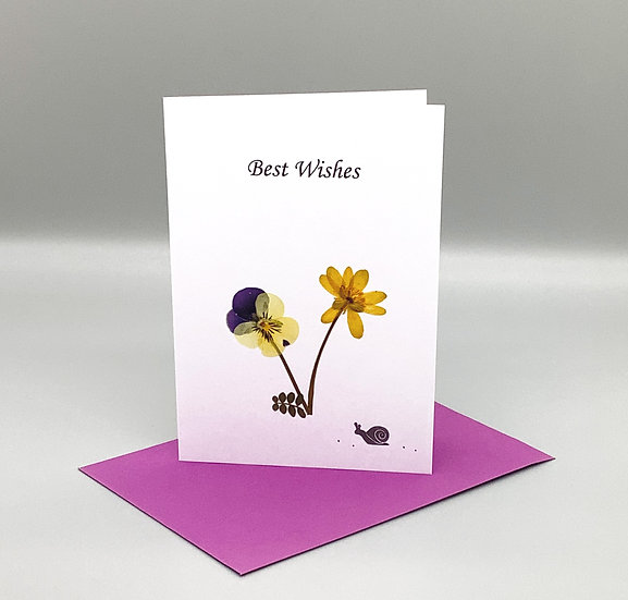 Best Wishes - Pansy with snail