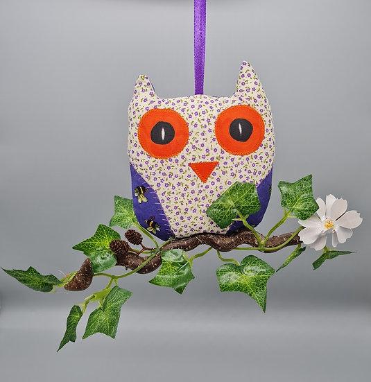 Hanging Owl Decoration - Ivory & Purple