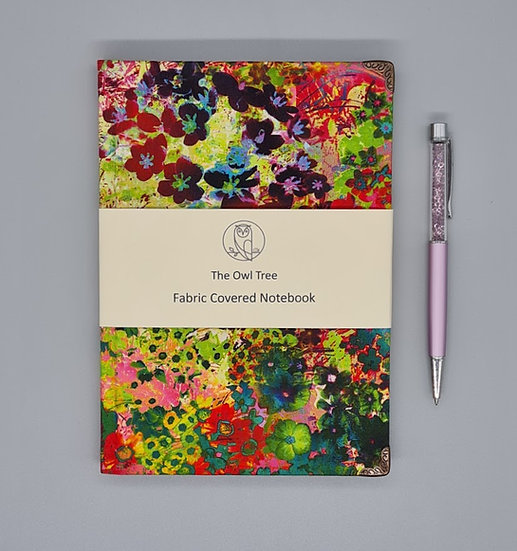 Bright floral fabric covered notebook