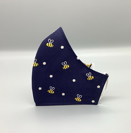 Medium Face Covering - Bumblebee on navy