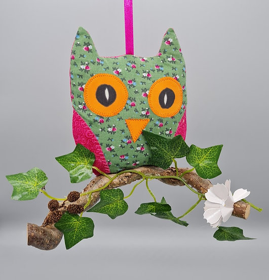 Hanging Owl Decoration - Olive & Green