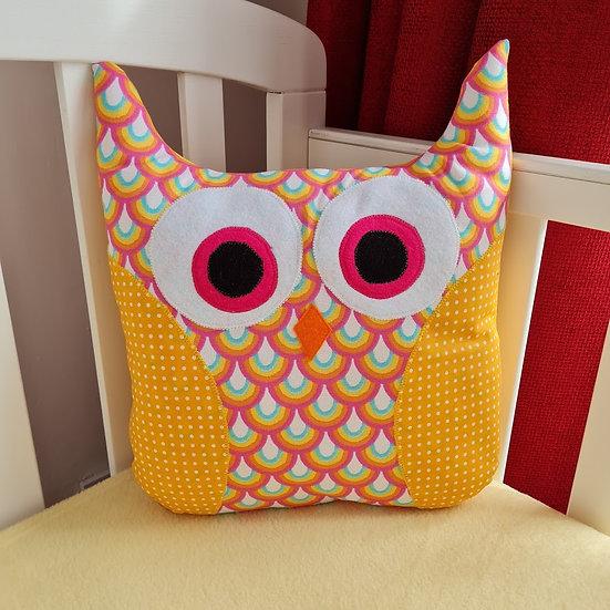 Owl Cushion - Rainbows on Mustard