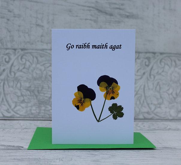 Pressed Flower Card - Go raibh maith agat