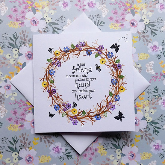 Hand Stamped Friendship Card