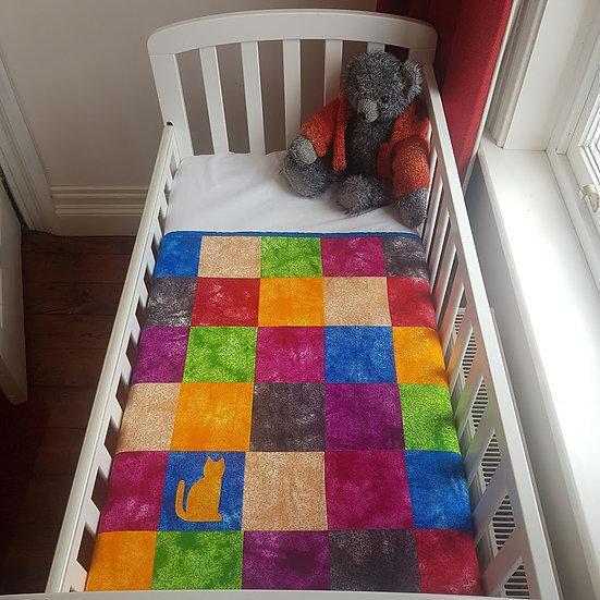 Patchwork Blanket - Rainbow Cat