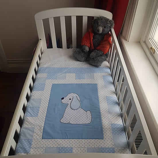 Appliqué Blanket - Playful Puppy on Blue