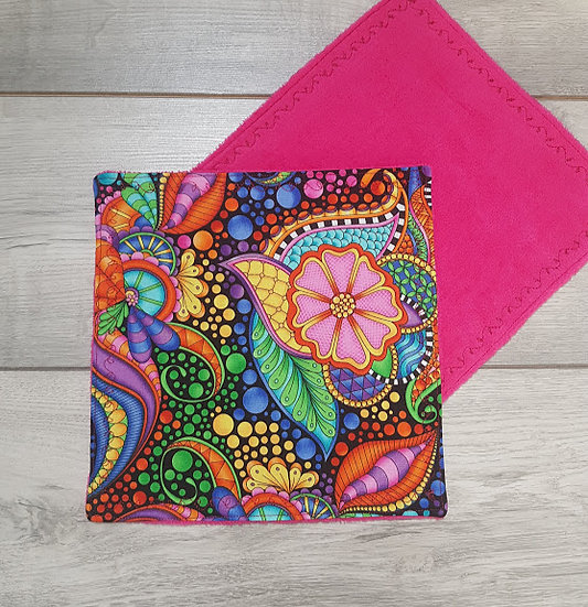 Face Towel - Flowers on Pink
