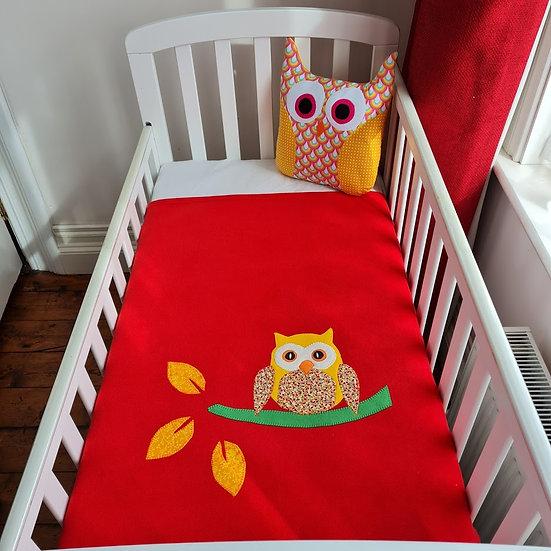 Fleece Blanket - Yellow Owl on Red