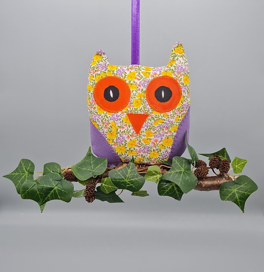 Hanging Owl Decoration - Mustard & Purple