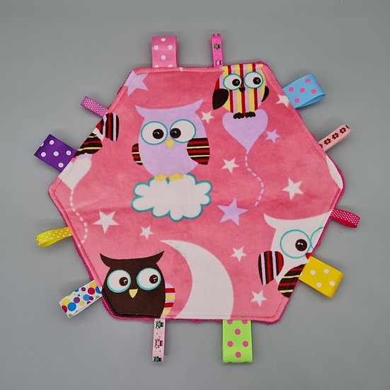 Large Tag Square - Owls on Pink