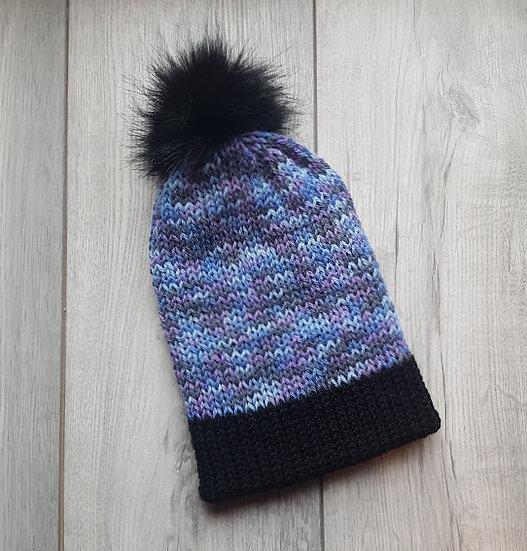 Handmade Knit Hat - Lavender Fields