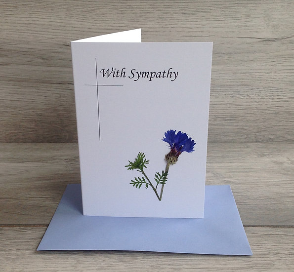Pressed Flower Card - With Sympathy - wild cornflower