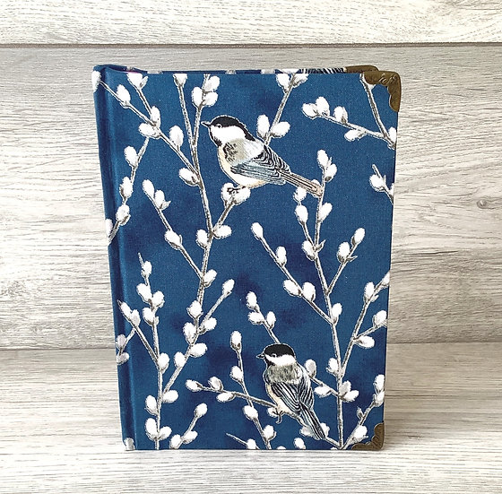 A5 Fabric Covered Notebook - Birds on Willow