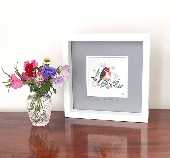 'The Robins Return' on Grey - Framed