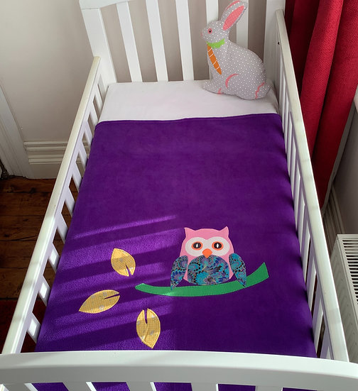 Fleece Blanket - Pink Owl on purple