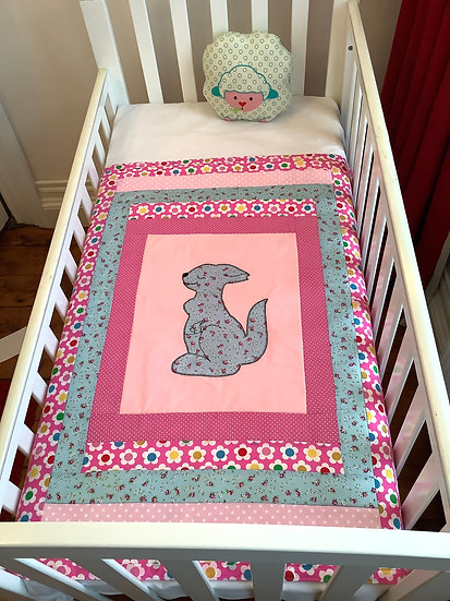 Appliqué Blanket - Kangaroo on pink