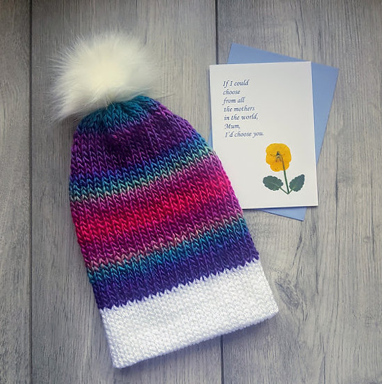 Mother's Day Gift & Card - Handmade Knit Hat - Stained Glass Window