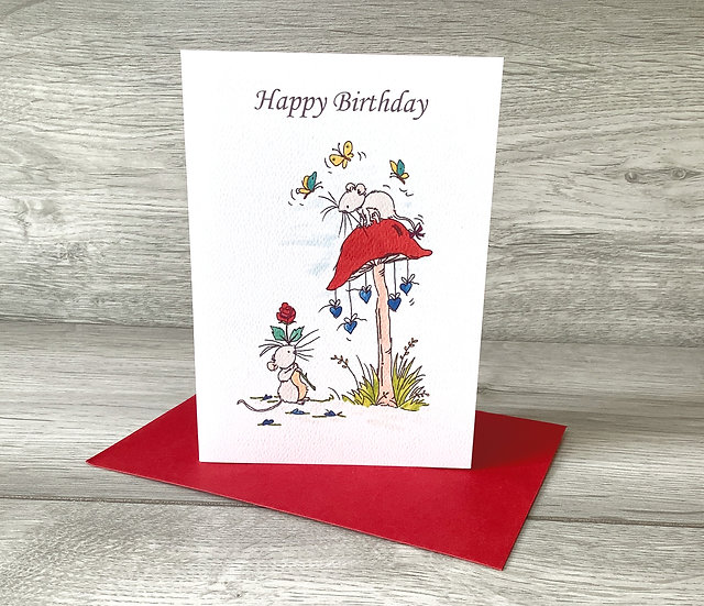 Happy Birthday - Ink stamped watercolour card