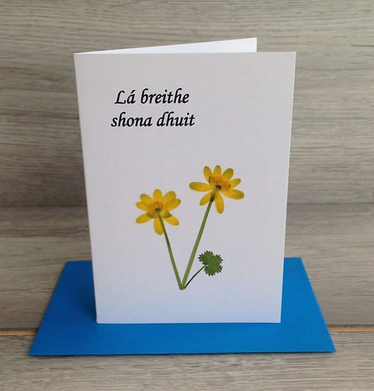 Pressed Flower Card - Lá breithe shona dhuit - Yellow flowers