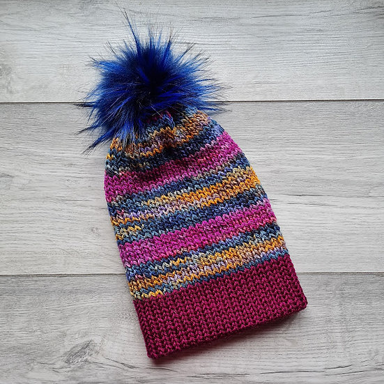 Handmade Knit Hat - Blueberry Roulade