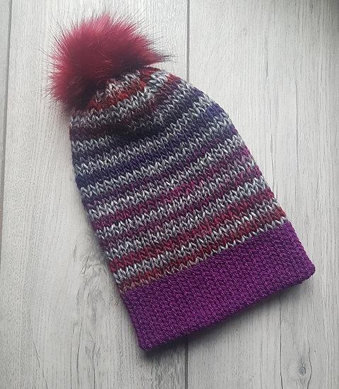 Handmade Knit Hat - Purple Magic