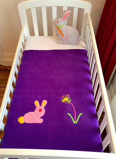Fleece Blanket - Pink bunny on purple