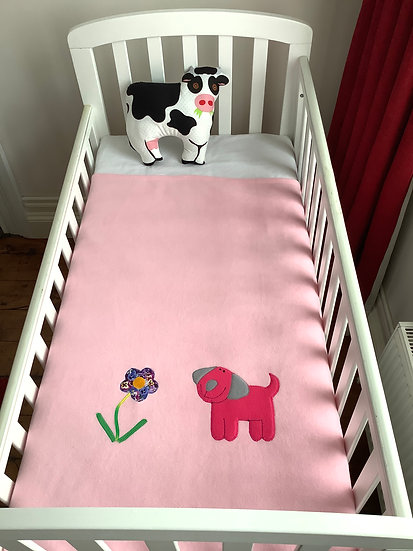 Fleece Blanket -Rose pink puppy on baby pink