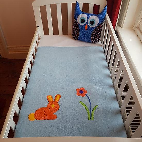 Fleece Blanket - Orange Bunny on Baby Blue
