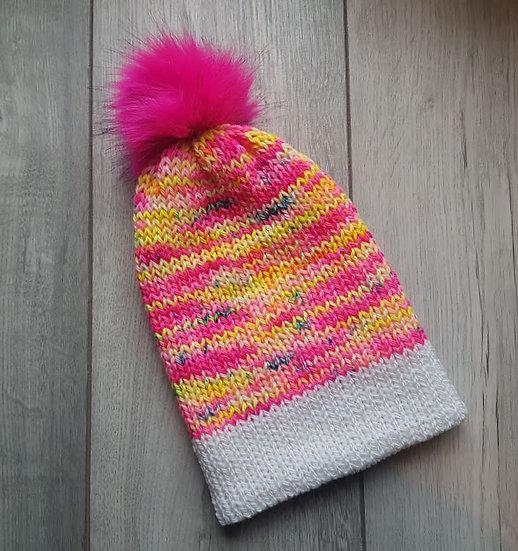 Handmade Knit Hat - Strawberries & Cream