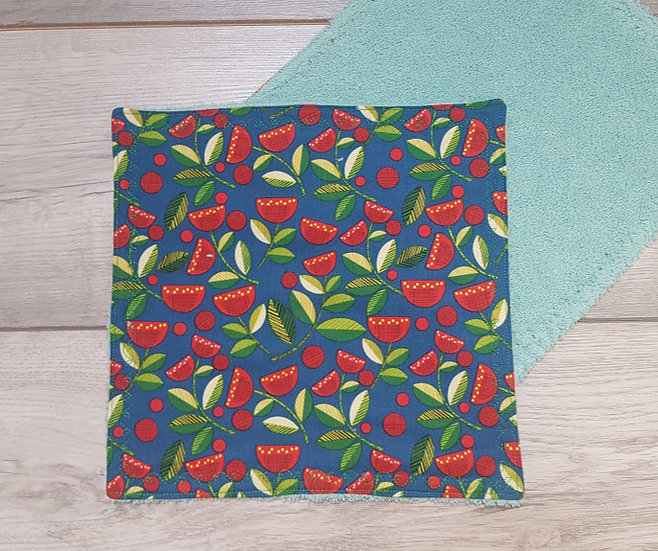 Face Towel - Flowers on Teal