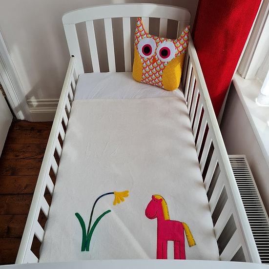 Fleece Blanket - Pink Horse on Ivory