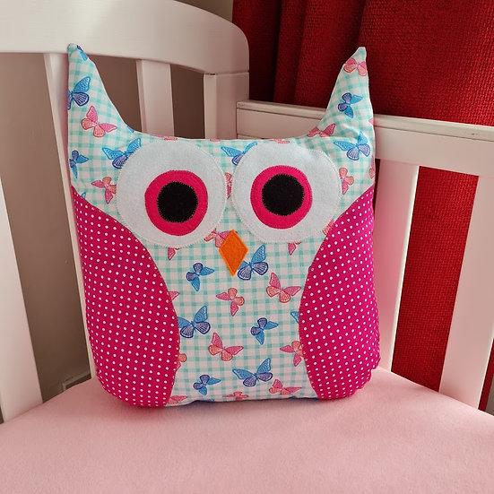 Owl Cushion - Butterflies on Pink & Teal
