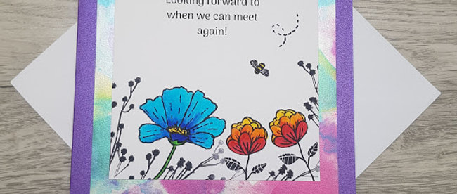 Hand stamped 'Keep in Touch' Card - Blue and Orange flowers