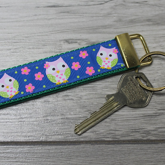 Wrist Key Fob - Blue owls
