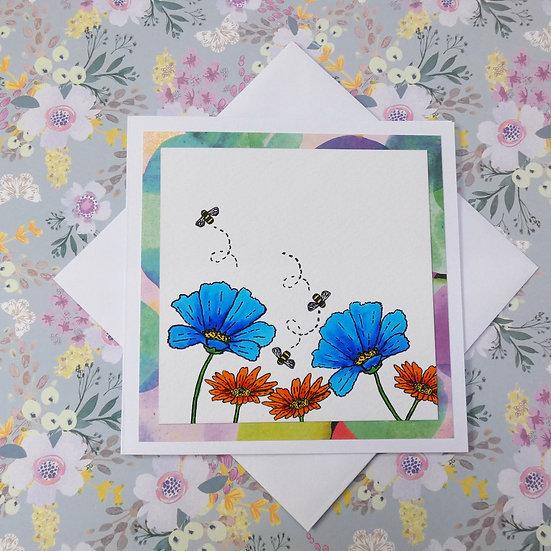 Blue and Orange Flower - Blank inside