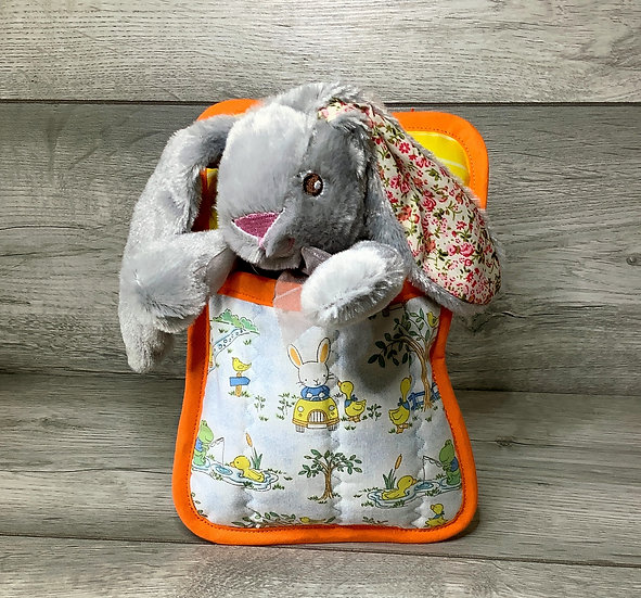Ted in a Bed - Grey bunny