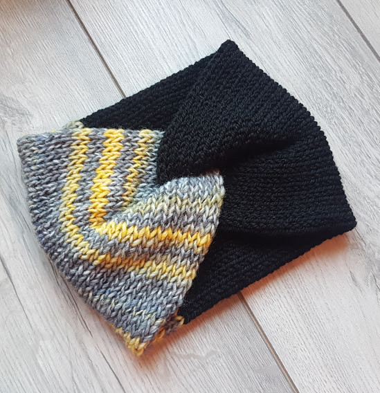 Handmade Knitted Headband - Mustard Stripe