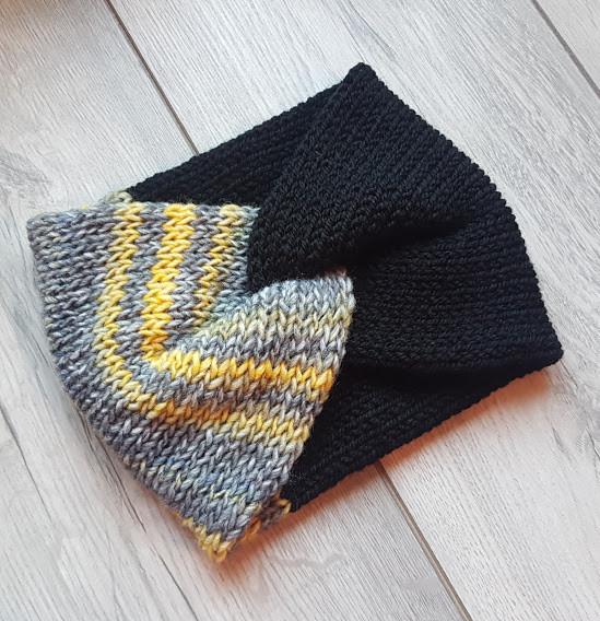 Handmade Knitted Headband - Mustard Stripe